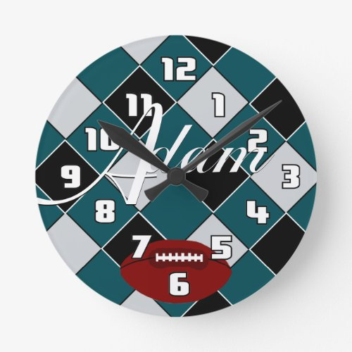 Adam Football Green Black Silver Checked Clock