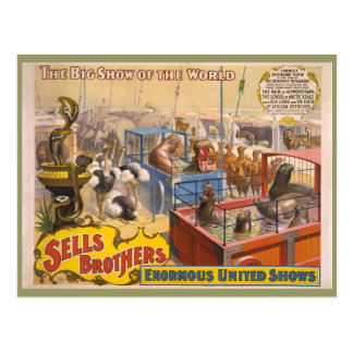 Adam Forepaugh and Sells Brothers Circus Poster Postcard