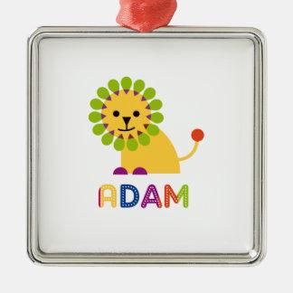 Adam Loves Lions Square Metal Christmas Ornament