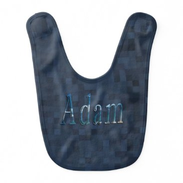 Adam, Name Logo, Baby Boys, Blue Mosaic Bib