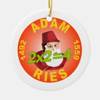 Adam resma adorno navideño redondo de cerámica