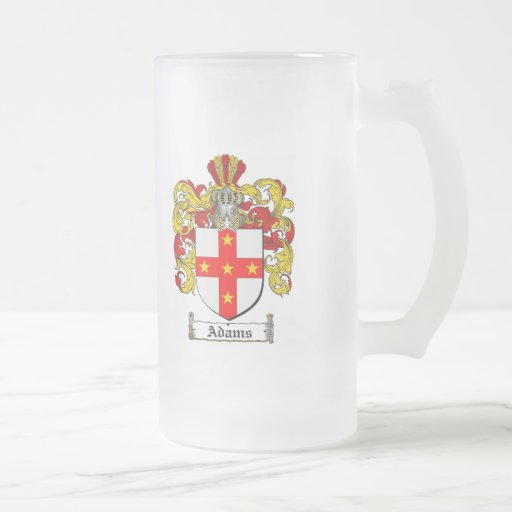 ADAMS FAMILY CREST -  ADAMS COAT OF ARMS FROSTED GLASS BEER MUG