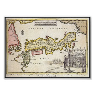 Japan Country Map Outline Black Silhouette Japan Poster Zazzlecom - Japan map poster