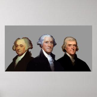 Adams, Washington, y Jefferson Impresiones