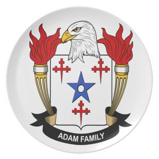 Adán, escudo de armas (escudo) en una placa platos para fiestas