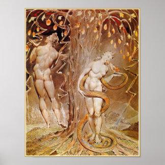 Adán, Eva y serpiente en el jardín de Eden de Póster