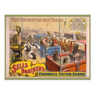 Adán Forepaugh y poster del circo de los hermanos Postales