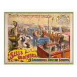 Adán Forepaugh y poster del circo de los hermanos  Tarjeta Postal