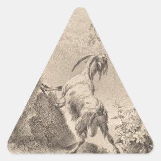 Adán von Bartsch Goat en un paisaje 1805 Calcomanías Triangulos Personalizadas