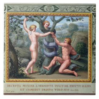 Adán y Eva con la serpiente, ejemplo de t Azulejo Cuadrado Grande