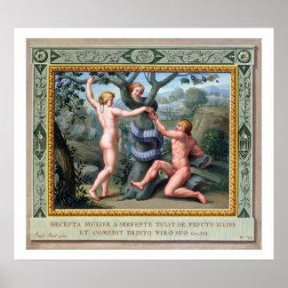 Adán y Eva con la serpiente, ejemplo de t Póster
