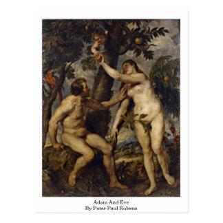 Adán y Eva de Peter Paul Rubens Tarjeta Postal