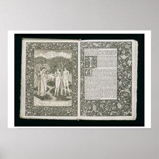"""Adán y Eva, """"del Kelmscott Chaucer"""", publis Póster"""