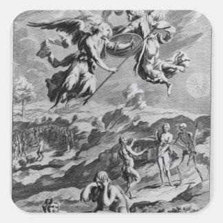 Adán y Eva después de la caída Pegatina Cuadrada
