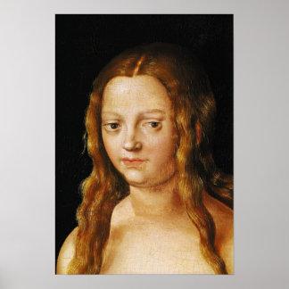 Adán y Eva, detalle de la cabeza de Eve Póster