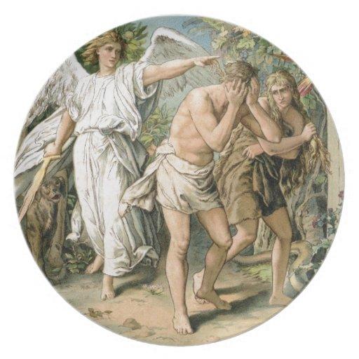 Adán y Eva echados fuera de paraíso Plato De Cena