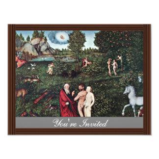 Adán y Eva en el jardín de Eden, de Adán y de Eva Invitación 10,8 X 13,9 Cm