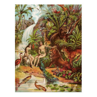 Adán y Eva en el jardín Postal