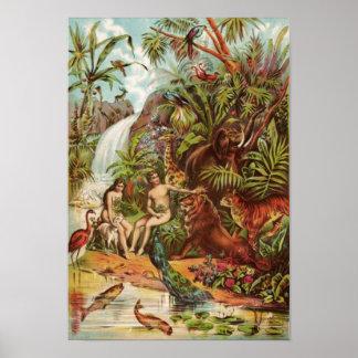 Adán y Eva en el jardín Póster