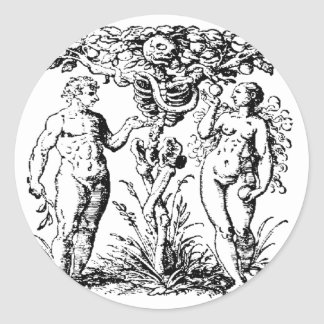 ADÁN y EVA Pegatina Redonda