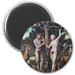 Adán y Eva por Cranach D. Ä. Lucas (la mejor calid Iman Para Frigorífico