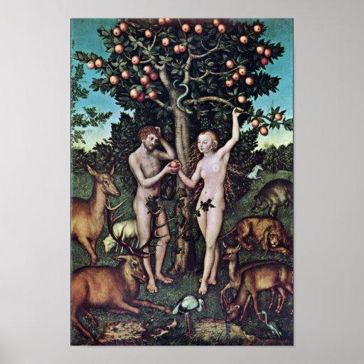 Adán y Eva por Cranach D. Ä. Lucas (la mejor calid Impresiones