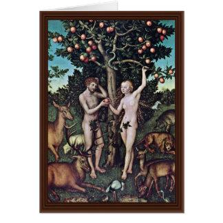 Adán y Eva por Cranach D. Ä. Lucas (la mejor calid Tarjeton