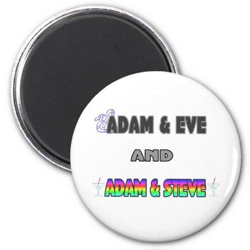 Adán y Eva y Adán y Steve Imán Redondo 5 Cm
