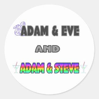 Adán y Eva y Adán y Steve Pegatina Redonda