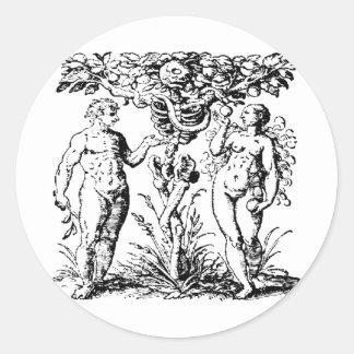 Adán y Eva y árbol Pegatina Redonda