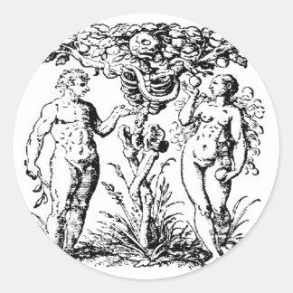 Adán y Eva y árbol Etiquetas Redondas