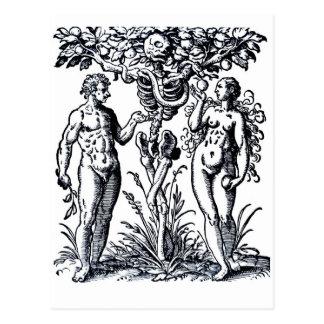 Adán y Eva y el árbol de la postal del conocimient
