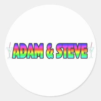 Adán y Steve Pegatinas Redondas