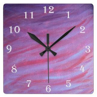 Adaptable - cebra púrpura rosada femenina reloj cuadrado