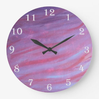 Adaptable Decor | Chic Pink Purple Zebra Abstract Large Clock
