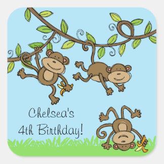 Adaptable monkey alrededor a los pegatinas calcomanías cuadradass