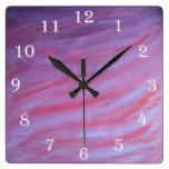 Adaptable Pink Purple Wavy Animal Zebra Girly Diva Square Wall Clock