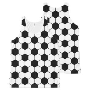 Adapted Soccer Ball pattern Black White All-Over-Print Tank Top