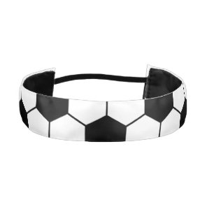 Adapted Soccer Ball pattern Black White Athletic Headband