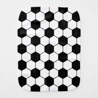 Adapted Soccer Ball pattern Black White Burp Cloth
