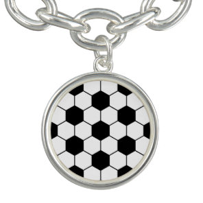 Adapted Soccer Ball pattern Black White Charm Bracelet