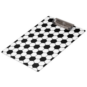 Adapted Soccer Ball pattern Black White Clipboard