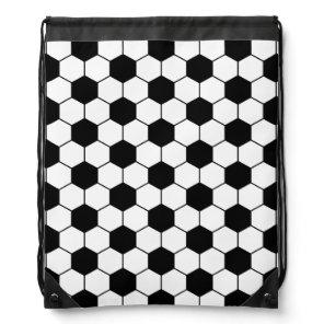 Adapted Soccer Ball pattern Black White Drawstring Bag