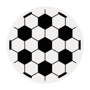 Adapted Soccer Ball pattern Black White Edible Frosting Rounds