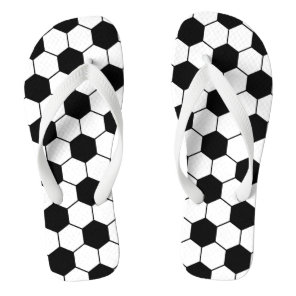 Adapted Soccer Ball pattern Black White Flip Flops