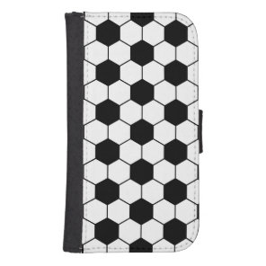 Adapted Soccer Ball pattern Black White Galaxy S4 Wallet Case