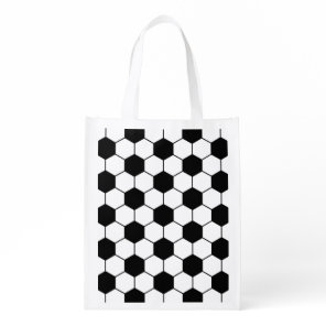 Adapted Soccer Ball pattern Black White Grocery Bag