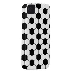 Adapted Soccer Ball pattern Black White iPhone 4 Case-Mate Case