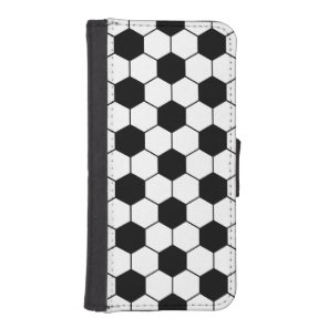 Adapted Soccer Ball pattern Black White iPhone SE/5/5s Wallet Case