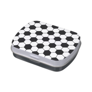 Adapted Soccer Ball pattern Black White Jelly Belly Candy Tin